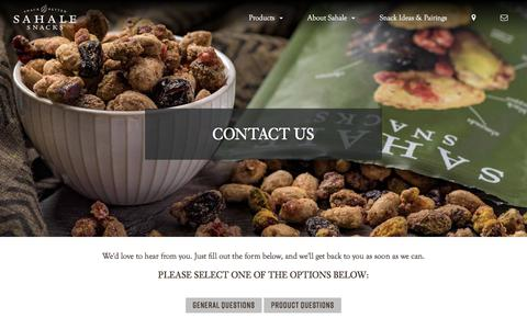 Screenshot of Contact Page sahalesnacks.com - Contact Us | Sahale Snacks® - captured Nov. 24, 2019