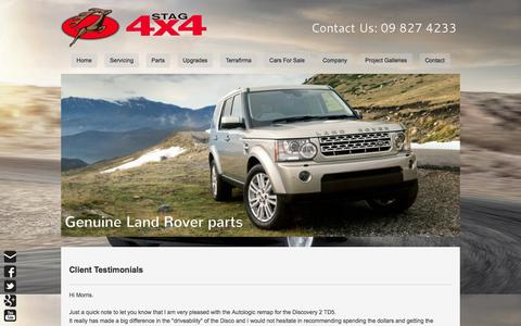 Screenshot of Testimonials Page stag4x4.co.nz - Testimonials - Range Rover Specialists09 8274233 - captured Sept. 30, 2014