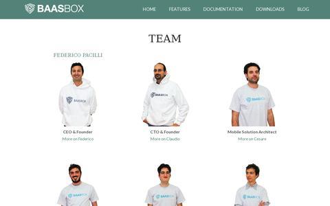 Screenshot of Team Page baasbox.com - Team | BAASBOX - captured July 19, 2014