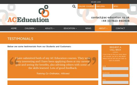 Screenshot of Contact Page Testimonials Page ac-education.co.uk - Testimonials | AC Education - captured July 23, 2016