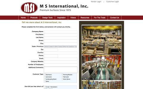 Screenshot of Contact Page msistone.com - Contact Us | To Request Additional Information about MSI's Premium Natural Stone         products | M S International, Inc. - captured Nov. 11, 2015