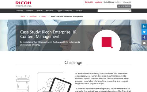Screenshot of Case Studies Page ricoh-usa.com - Ricoh Enterprise HR Content Management - captured Jan. 3, 2019