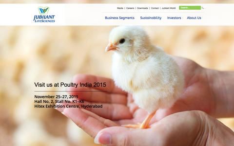 Screenshot of Home Page jubl.com - Jubilant Life Sciences - captured Nov. 17, 2015