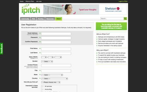 Screenshot of Signup Page ipitch.com.au - iPitch.com.au | Business Start up Australia | Startups | Resources for Australian Entrepreneurs. - captured Sept. 19, 2014