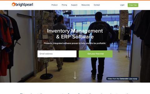 Screenshot of Home Page brightpearl.com - Inventory Management & ERP Software | Brightpearl - captured Jan. 24, 2016