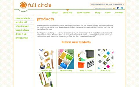 Screenshot of Products Page fullcirclehome.com - Full Circle | Products - captured Oct. 31, 2014