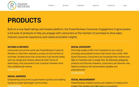Screenshot of Products Page powerreviews.com - SaaS Ratings & Review Platform | PowerReviews.com - captured Oct. 29, 2014