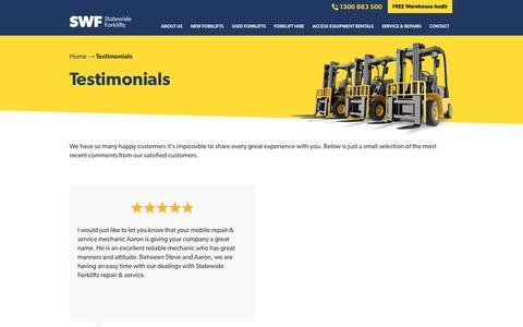 Screenshot of Testimonials Page statewideforklifts.com.au - Testimonials - Statewide Forklifts - captured Oct. 20, 2018