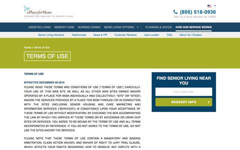 Screenshot of Terms Page aplaceformom.com - (1) New Message! - captured Jan. 1, 2020
