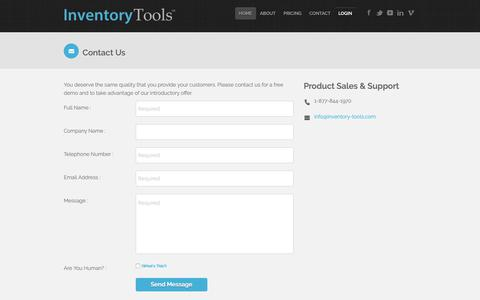 Screenshot of Contact Page inventory-tools.com - Contact Inventory Tools - captured Oct. 1, 2018