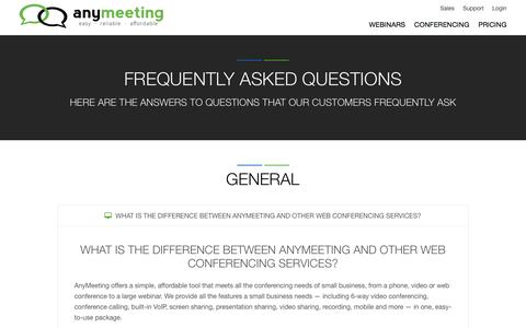 Screenshot of FAQ Page anymeeting.com - Frequently Asked Questions | FAQs' | AnyMeeting - captured May 9, 2017