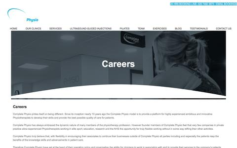Screenshot of Jobs Page complete-physio.co.uk - Careers and opportunities at Complete Physio - Complete Physio - captured July 20, 2018