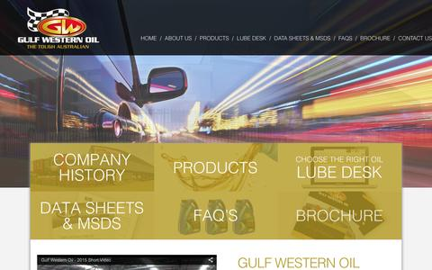 Screenshot of Home Page gulfwestern.com.au - Aussie Owned Manufacturer of Lubricants and Oil - Gulf Western Oil - captured Feb. 2, 2016