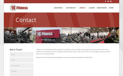 Screenshot of Contact Page 10fitness.com - Contact Us - Please visit the location page for direct contact with a club - captured Oct. 20, 2018