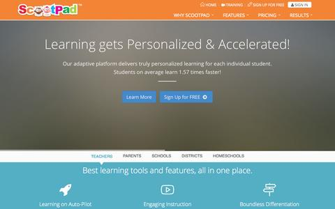 Screenshot of Home Page scootpad.com - ScootPad: Where Learning gets Personalized & Accelerated! - captured Oct. 11, 2014