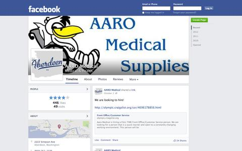 Screenshot of Facebook Page facebook.com - AARO Medical - Aberdeen, WA - Medical & Health | Facebook - captured Oct. 23, 2014