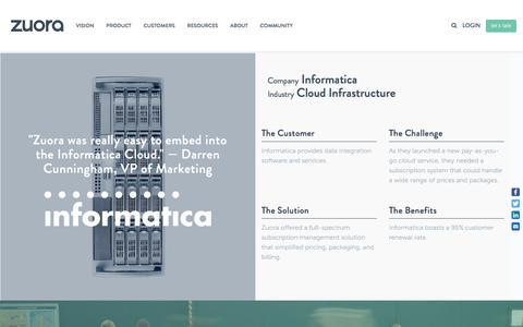Screenshot of Case Studies Page zuora.com - Informatica Case Study - Zuora - captured Sept. 11, 2017