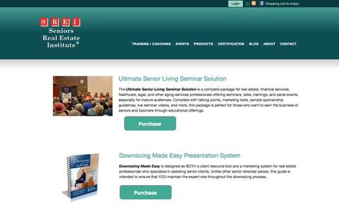 Screenshot of Products Page seniorsrealestateinstitute.com - SREI Resource Offerings - captured Sept. 20, 2018