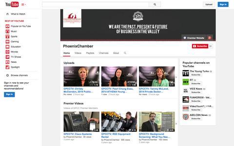 Screenshot of YouTube Page youtube.com - PhoenixChamber  - YouTube - captured Oct. 23, 2014
