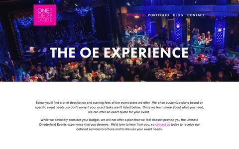 Screenshot of Services Page onederlandevents.com - Services — Onederland Events - captured Oct. 19, 2018