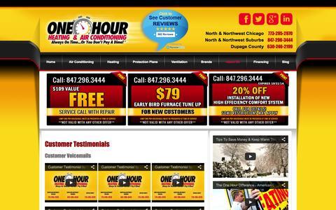 Screenshot of Testimonials Page aconehourair.com - Heating & Air Conditioning Testimonials Chicago IL | AC One Hour - captured Oct. 4, 2014