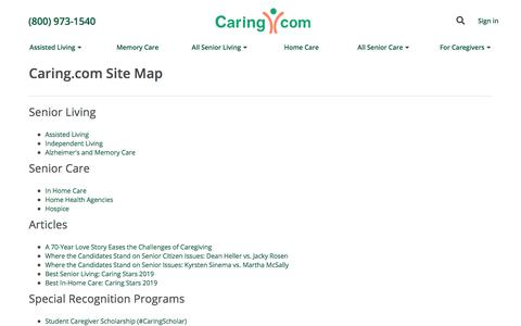 Screenshot of Site Map Page caring.com - Site Map | Caring.com - captured Sept. 4, 2019