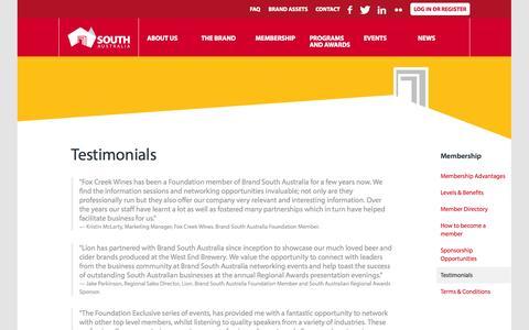 Screenshot of Testimonials Page brandsouthaustralia.com.au - Testimonials - captured Sept. 30, 2014