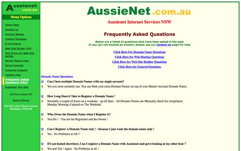 Screenshot of FAQ Page aussienet.com.au - AussieNet Internet Services NSW - Customer Frequently Asked Questions - captured June 15, 2016
