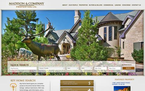 Screenshot of Home Page madisonprops.com - Colorado Real Estate - Madison & Company Properties, LTD. - captured Oct. 4, 2014
