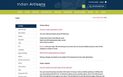 Screenshot of FAQ Page indianartisansonline.com - FAQs | Indian Artisans Online - captured Jan. 8, 2016