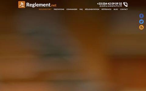Screenshot of Home Page reglement.net - Déposer en ligne le règlement d'un jeu concours auprès d'un huissier - captured Sept. 25, 2014