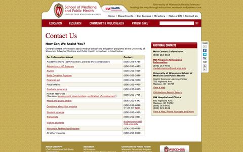 Screenshot of Contact Page wisc.edu - Contact Us, University of Wisconsin School of Medicine and Public Health - captured Sept. 18, 2014