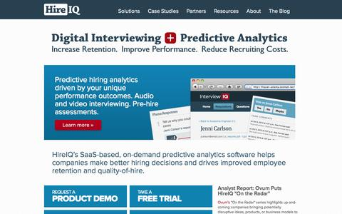 Screenshot of Home Page hireiqinc.com - Digital Interviewing + Predictive Analytics = Improved Talent Performance. - captured Sept. 16, 2014