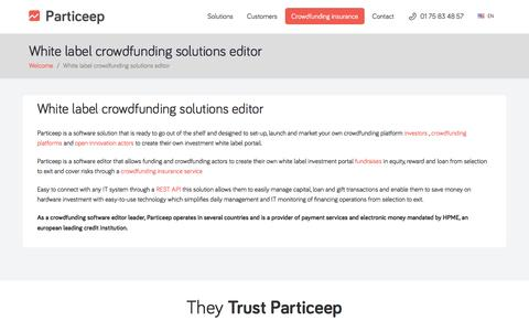 Screenshot of Products Page particeep.com - Crowdfunding solutions - captured Jan. 25, 2016