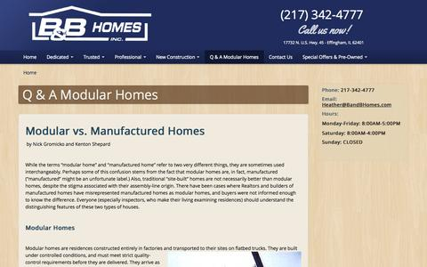 Screenshot of FAQ Page bandbhomes.com - Q & A Modular Homes | B and B Homes Effingham, IL - Affordable Modular Housing - captured Oct. 1, 2014