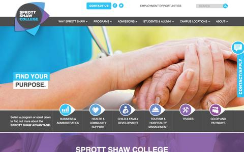 Screenshot of Home Page sprottshaw.com - Sprott Shaw College | Learning With Purpose Since 1903 Sprott Shaw College - captured Nov. 19, 2015