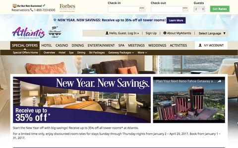 Screenshot of atlantiscasino.com - Reno Hotel Deals | New Year New Savings | Atlantis Room Special - captured Jan. 10, 2017