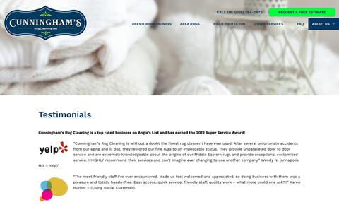 Screenshot of Testimonials Page rugcleaning.net - Testimonials | Cunninghams Rug Cleaning - captured Sept. 30, 2018