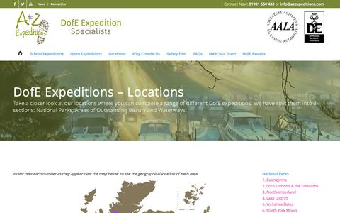 Screenshot of Locations Page azexpeditions.com - Locations - A to Z expeditions - captured Feb. 1, 2016