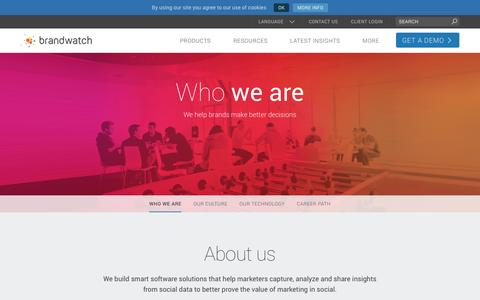 Screenshot of About Page brandwatch.com - Who We Are - Brandwatch - captured April 30, 2016