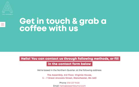 Screenshot of Contact Page assemblymcr.com - Contact Us - The Assembly Co-Working, Manchester City Centre - captured Nov. 15, 2018