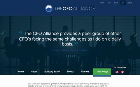 Screenshot of Signup Page thecfoalliance.org - The CFO Alliance, a community of financial leaders and experts who share their experience, knowledge, and wisdom. - captured Sept. 30, 2014