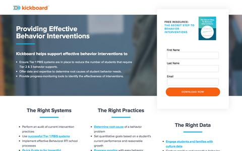 Screenshot of Landing Page kickboardforschools.com - Behavior Interventions |  Kickboard - captured July 12, 2017