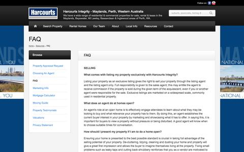 Screenshot of FAQ Page harcourts.com.au - FAQ | Harcourts Integrity - Maylands, Perth, Western Australia | We have a wide range of residential & commercial properties for sale, rental & lease in the Maylands, Bayswater, Mt Lawley, Bassendean & Inglewood areas of Perth, WA. - captured Sept. 19, 2014