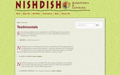 Screenshot of Testimonials Page nishdish.com - Nishdish Catering Client testimonials - captured Oct. 26, 2014