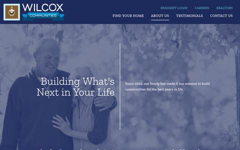 Screenshot of About Page wilcoxcommunities.com - About Us | Wilcox Communities - captured Sept. 30, 2018