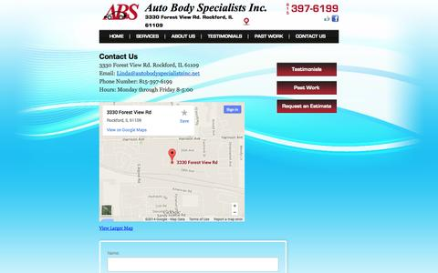 Screenshot of Contact Page autobodyspecialistsinc.net - Auto Body Specialists Collision Repair Contact Page | ABS - captured Oct. 4, 2014