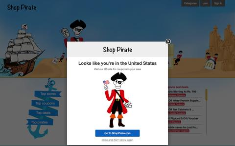Screenshot of Home Page shoppirate.in - Shop Pirate – Get Coupons, promo codes and Discounts - captured Oct. 5, 2015