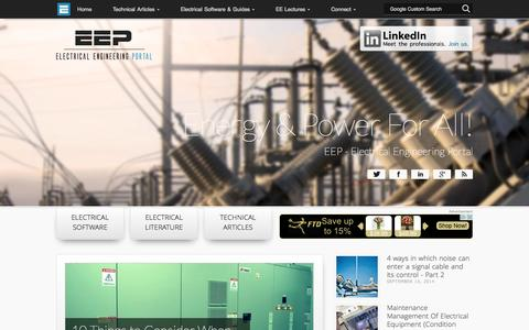 Screenshot of Home Page electrical-engineering-portal.com - EEP - Electrical Engineering Portal | Energy and Power For All! - captured Sept. 18, 2014