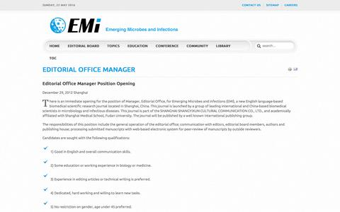 Screenshot of Jobs Page emi2012.org - Careers Emerging Microbes and Infections - EMI2012.org - captured May 22, 2016